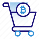 bitcoin, business, cryptocurrency, digital money, electronic cash, shop, trolley icon