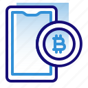 bitcoin, business, cryptocurrency, digital money, electronic cash, mobile, smartphone icon