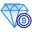 bitcoin, business, cryptocurrency, diamond, digital money, electronic cash, value icon