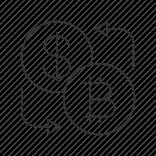 bitcoin, convert, currency, dollar, exchange, finance, money icon