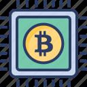 bitcoin, cpu, exploring, mining, processing, screening, searching icon