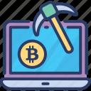 bitcoin, exploring, mining, online, screening, searching, world icon