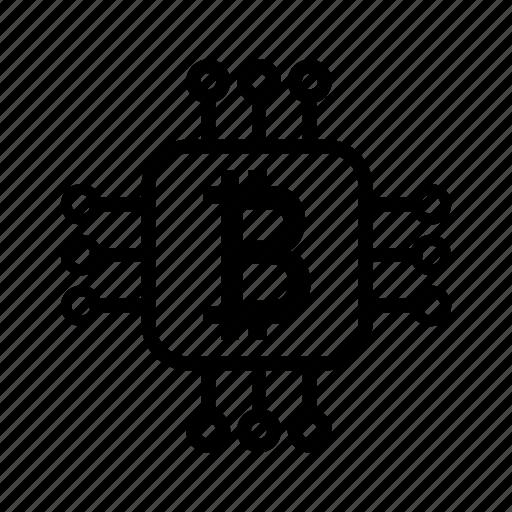 bitcoin, business, coin, cpu, dollar, financial, mining, money icon