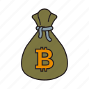 bag, bitcoin, money, sack icon icon