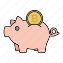 bitcoin, cryptocurrency, moneybox, pork icon