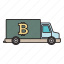 bitcoin, car, truck, vehicle icon icon