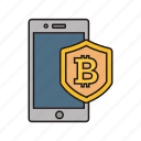 bitcoin, cryptocurrency, smartphone, technology icon