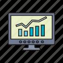 increase, computer, bitcoin, income icon