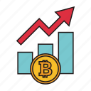 bitcoin, income, increase, up icon