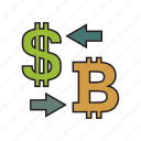 bitcoin, convert, cryptocurrency, currency, dollar icon