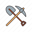 pickaxe, shovel, tool icon icon