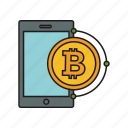 bitcoin, cryptocurrency, phone, smartphone icon