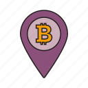 cryptocurrency, navigation, bitcoin, location icon