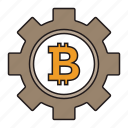 bitcoin, cryptocurrency, gear, settings icon