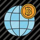bitcoin, currency, earth, globe icon