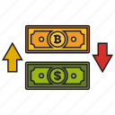bitcoin, convert, dollar, money icon icon