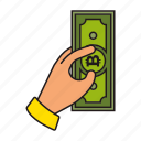 bitcoin, cash, money icon, hand icon