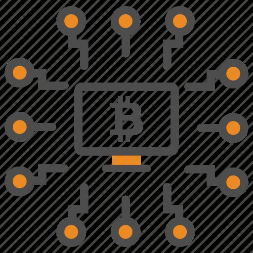 bitcoin, bitcoins, block, blockchain, chain, computer, cryptocurrency, mining icon