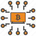 bitcoin, bitcoins, block, blockchain, chain, computer, cryptocurrency, mining icon