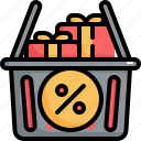 shopping, offer, black friday, present, sale, basket, discount icon