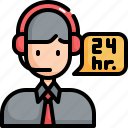 service, call, center, 24 hours, support, customer, agent icon