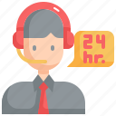 24 hours, service, support, center, call, agent, customer icon