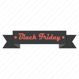 advertisement, banner, black friday, promotion, ribbon, sale, shopping icon