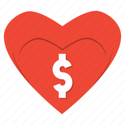 dollar, donation, finance, gift, heart, love, shopping icon