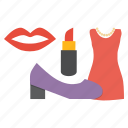 accessory, black friday, fashion, heels, ladies, lipstick, shopping icon