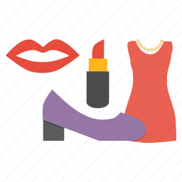 accessory, black friday, fashion, heels, ladies, lipstick, shopping icon