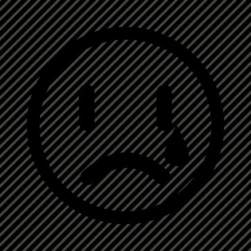 cry, displeased, emoticon, sad, unhappy icon