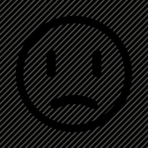 displeased, emoticon, sad, unhappy icon