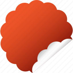 blank, cloud, flower, label, red, sticker icon
