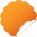 blank, cloud, flower, label, orange, sticker icon