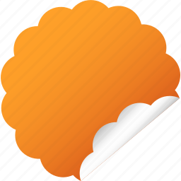 blank, cloud, flower, label, orange, sticker icon