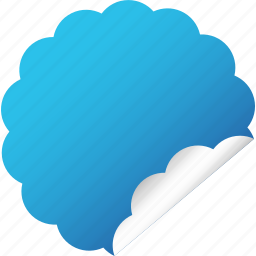 blank, blue, cloud, flower, label, sticker icon