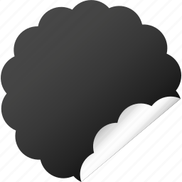 blank, cloud, dark, flower, label, sticker icon