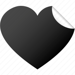 blank, dark, heart, like, love, sticker, valentine icon