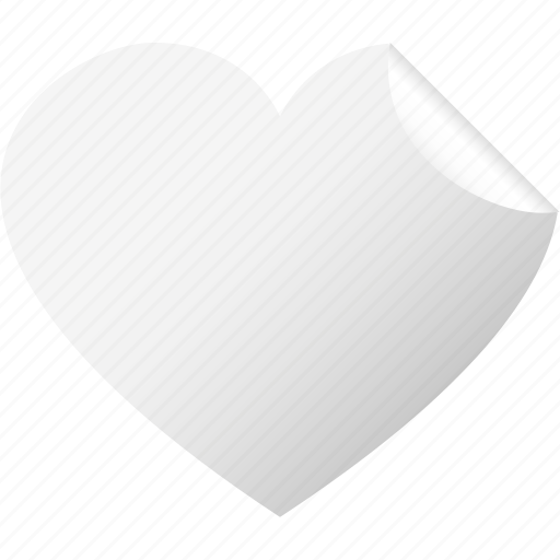 blank, heart, like, love, sticker, valentine, white icon