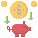 bank, business, coin, funds, piggy, save, savings icon