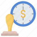 office, clock, stamp, alarm, certify, timer, time icon