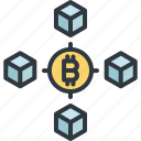 bitcoin, blockchain, business, currency, digital, finance, network icon