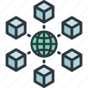 bitcoin, blockchain, business, digital, finance, global, network icon