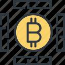 bitcoin, blockchain, business, currency, digital, finance, network icon