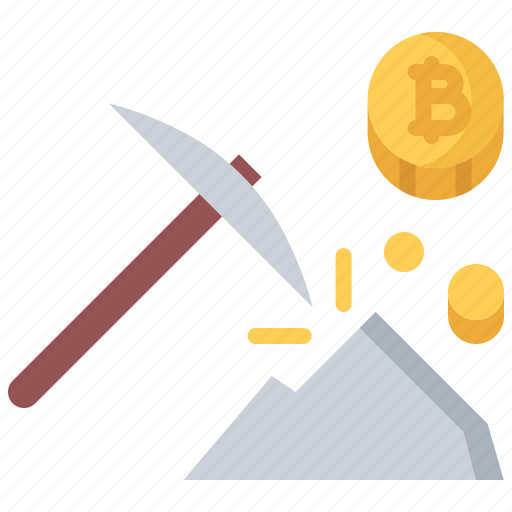 bitcoin, coin, cryptocurrency, mine, mining, pickaxe, stone icon