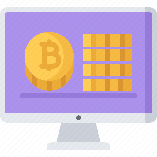 bitcoin, block, chain, coin, computer, cryptocurrency, monitor icon