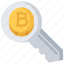 bitcoin, block, chain, coin, cryptocurrency, key icon