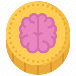 block, brain, chain, coin, cryptocurrency, smart icon