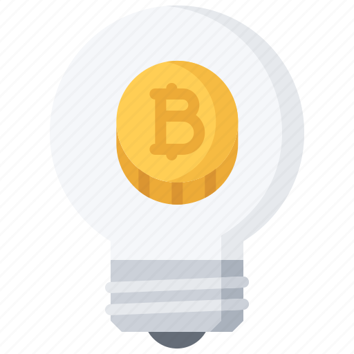 bitcoin, block, bulb, chain, coin, cryptocurrency, idea icon