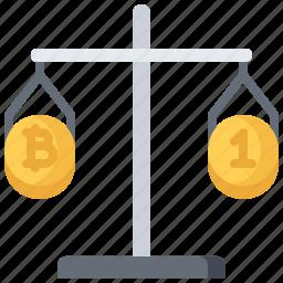 bitcoin, block, chain, coin, comparison, cryptocurrency, scales icon